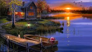 lake fishing wallpaper. Exellent Fishing Rest House Nature Art Lake Fishing Sunset In Lake Fishing Wallpaper 9