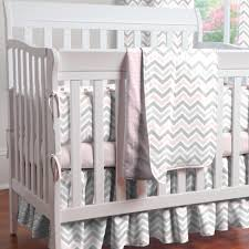 Pink and Gray Chevron Mini Crib Bedding