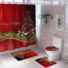 Santa Claus Christmas Snowman Shower Curtain Set Bath Mats Rugs For Bathroom Decor Walmart Com Walmart Com