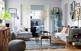 Black and white chairs living room Apartment Blue Grey And Orange Living Room With Delaktig Chaise Longue With Side Table Ikea Living Room Furniture Ideas Ikea
