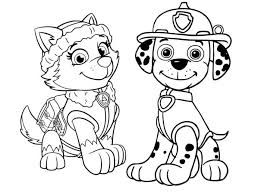 Paw Patrol Coloring Pages Marshall And Everest Free Coloring Sheets