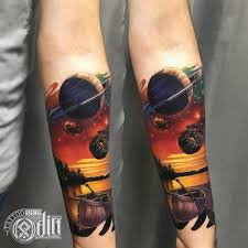 Tattoo Uploaded By Lucian Space Galaxy Moon Forest Dark