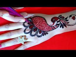 Most Attractive Red Black Peacock Mehndi Design Cone Making