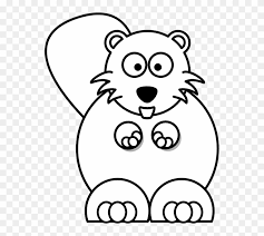 Cartoon Beaver Black White Line Coloring Sheet Colouring Baby