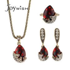 2019 luxury jewelry sets antique gold color chain with red stone rhinestone water drop pendant necklace drop earring and finger ring from ravishing