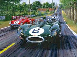 mike hawthorn driving the victorious jaguar d type in the 1955 lemans nicholas watts find this pin and more on race car art