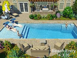 14 x 35 beach entry fiberglass pool