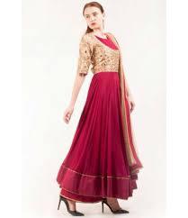 Bollywood Designer Suits Online Shopping Rani Pink Georgette Anarkali Suit With Short Mirrorwork Jacket
