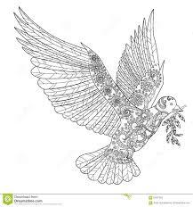 голубь летания в стиле Zentangle иллюстрация вектора иллюстрации