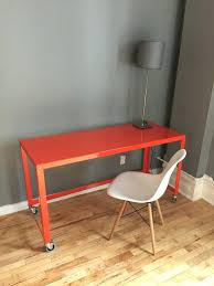 cb2 console mill table red fresca white