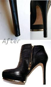 repair scuffed metallic shoes fixing leather tears with a kit chewed heel