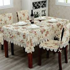 elegant european past lace tablecloths flower printed jacquard dining table cloth chair cover set