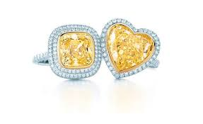 tiffany co yellow and white diamond rings square diamond 45 000 and heart