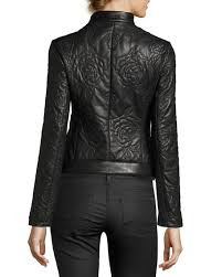 Armani Jeans Floral-Quilted Leather Moto Jacket, Black   Neiman Marcus & Floral-Quilted Leather Moto Jacket, Black Adamdwight.com