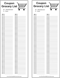 grocery list template printable printable coupon grocery list
