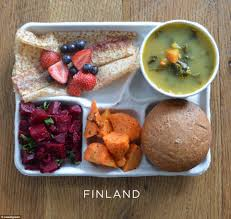 photos of school lunches served around the world reveal how meager in lunch is mainly a vegetarian affair of pea soup carrots beetroot salad