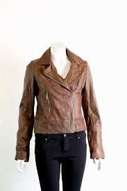 las leather biker jacket available in blue black and brown