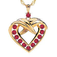 a dozen rubies heart pendant