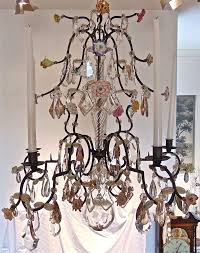 18th century french provincial iron and crystal chandelier naturalistically formed vincennes style porcelain flowers