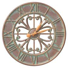 outdoor wall clock indoor copper verdigris uk large garden nz