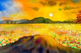 watercolor landscape original painting colorful of mountain sunset stock ilration ilration of horizon
