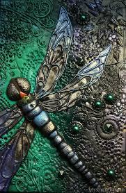 dragonfly book cover polymer clay by moniria84