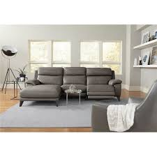 elephant gray leather match power reclining sofa with left arm facing chaise venice rc willey furniture
