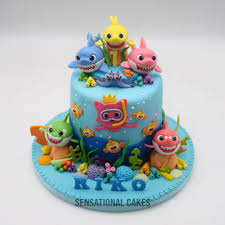 Baby Shark Family Ocean Underwater Children Boy Theme Cake