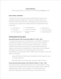 Industrial Engineering Resume Template Templates At