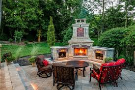 brown brick fireplace patio traditional with grass outdoor ovens