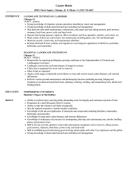 Landscaping Resume Examples Landscape Technician Resume Samples Velvet Jobs 40