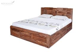 royaloak crystal queen size bed with hydraulic storage in sheesham wood