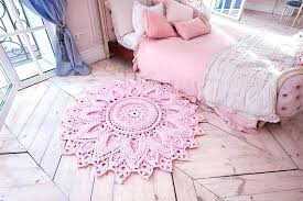 girls area rug pink crochet round in doily yarn baby girl nursery rugs canada play star