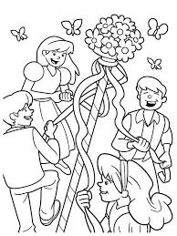 Small Picture Maypole Dancing Happily with Friends on May Day Coloring Pages