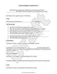 Sample Partnership Agreement Form Printable Sample Partnership Agreement Template Form