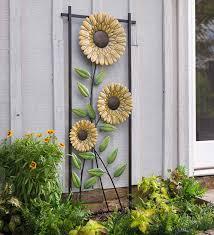 sunflower garden metal trellis wall art