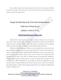 sample on the marketing in travel and tourism industry 20