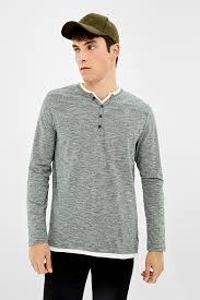 <b>Long</b>-<b>sleeved</b> double Henley <b>t</b>-<b>shirt</b> | <b>T</b>-<b>SHIRTS</b> | Springfield Man ...