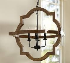lighting paloma wood chandelier pottery barn quatrefoil wood wood orb chandelier