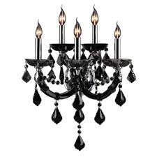 black crystal lighting. Worldwide Lighting Lyre Collection 5-Light Chrome With Black Crystal Sconce