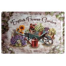 english garden wall plate flower garden vintage tin signs retro metal plate painting wall decoration for