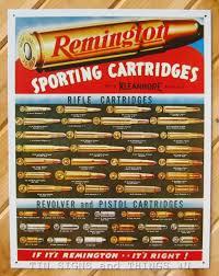 Remington Sporting Cartridges Ammo Chart Tin Sign Metal Hunt Gun Wall Decor 1001