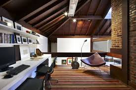 home office decor brown. Great Entrancing Image Of Awesome Room Decoration Using Light Brown Brick Stone Wall Panels Including Orange Stripe Area Rug And Solid Cherry Wood Home Office Decor N