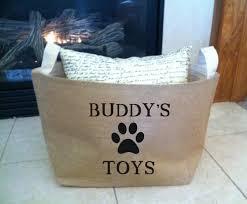 large personalized lined burlap dog toy basket burlap storage conner burlap bin