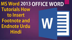 Ms Word 2013 Tutorials How To Insert Footnote And Endnote Urdu Hindi