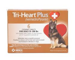 Tri Heart Plus Chewable Tablets For Dogs 51 100 Lbs 6 Treatments Brown Box