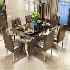 Kitchen Table Design Photos Us 1428 0 Rama Dymasty Stainless Steel Dining Room Set Home Furniture Modern Marble Dining Table And 6 Chairs Rectangle Table In Dining Tables From