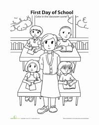 Small Picture First Day of School Coloring Worksheet Educationcom