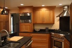 Natural Cherry Cabinets Shaker Kitchen Stainless Steel Appliances Corner Range Sink In