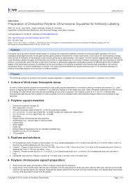 preparation of drosophila polytene chromosome squashes for  preparation of drosophila polytene chromosome squashes for antibody labeling pdf available